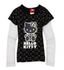 Hello Kitty Girls Flutter Thermal Sleeve Top Black